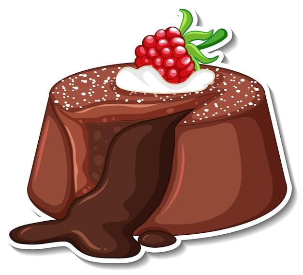 Шоколадный лавовый торт с малиновой наклейкой на белом фоне
