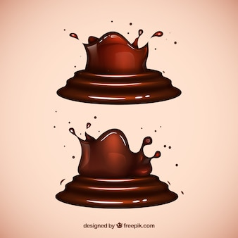 Chocolate liquid splashes in realistic style