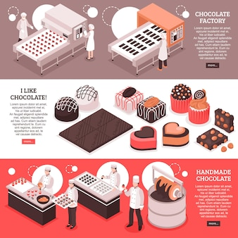 チョコレートは自動化された工場のコンベヤーで等尺性のバナーを製造し、職場や手作りの甘い生産の人々