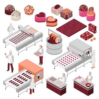 Chocolate manufacture isometric set of sweet food production automated factory lines and staff making candies