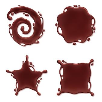 チョコレートメルトブロットセット-スパイラルラウンドと抽象的なカーブ。