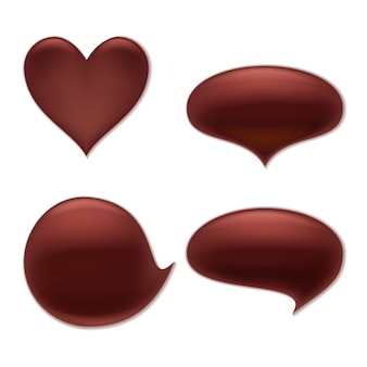Chocolate melt blot splash stain set.  heart and round abstract curves forms.