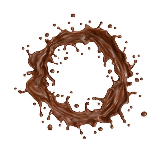 チョコレートミルクラウンドツイスターまたはスプラッタで渦巻きスプラッシュ。溶けた液体のホットチョコレートの渦巻き、3dリアルなベクターデザートココアドリンクまたは菓子シロップサークルスプラッシュと液滴