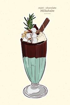 Chocolate and mint milkshake illustration