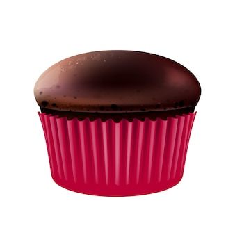 초콜릿 머핀 현실적인 그림 밀가루 과자 달콤한 물건 빵집 핑크 베이킹 컵에 설탕 과자 수제 코코아 컵 케이크 d 흰색 배경에 고립 된 개체