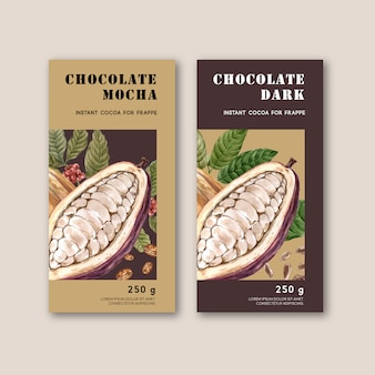 Chocolate packing with ingredients branch cocoa, watercolor illustration