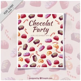 Шоколадная вечеринка акварель приглашение