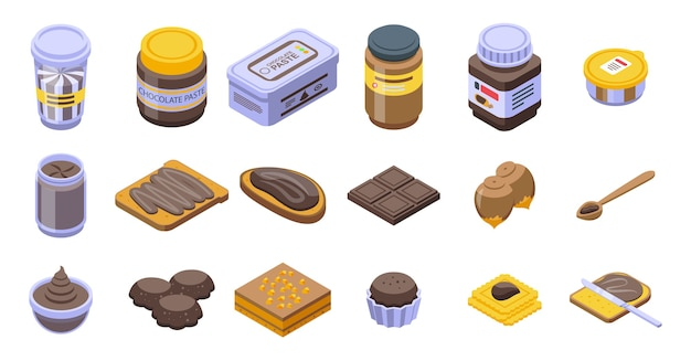Chocolate paste icons set. isometric set of chocolate paste  icons for web  isolated on white background
