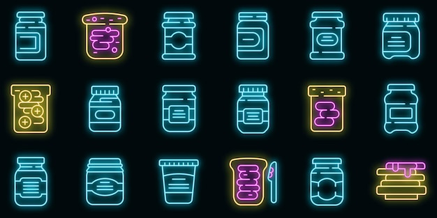 Chocolate paste icons set. outline set of chocolate paste vector icons neon color on black