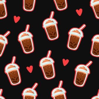 シームレスなパターンをトッピングアイスクリームとチョコレートプラスチックカップドリンク