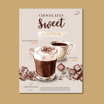 Chocolate poster with chocolate drink frappe, watercolor illustration