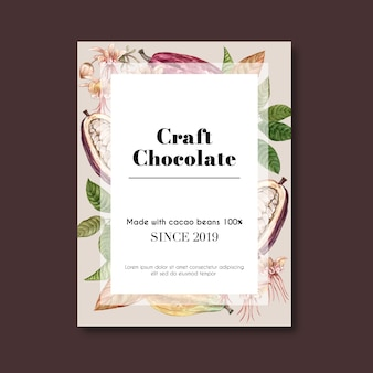 Chocolate poster with cocoa beans for craft chocolate
