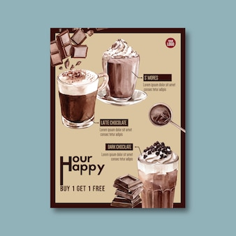 Chocolate poster with ingredients for hot chocolate drink