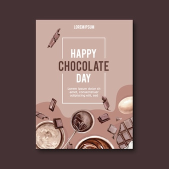 Chocolate poster with ingredients making chocolate bar broke, watercolor illustration