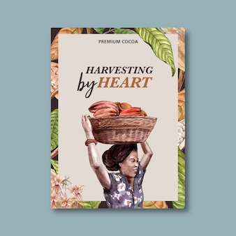 Chocolate poster with woman harvesting ingredients cocoa, watercolor illustration