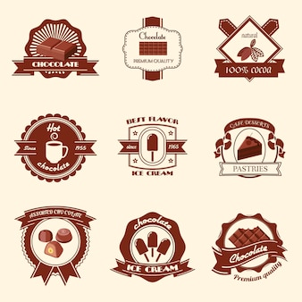 Chocolate premium quality natural cocoa best flavor ice cream badge set isolated vector illustration
