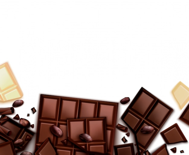 Chocolate realistic background with frame of images with choc bars and blank background with empty space