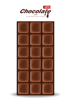 Chocolate realistic, delicious dessert, dark cacao, white background