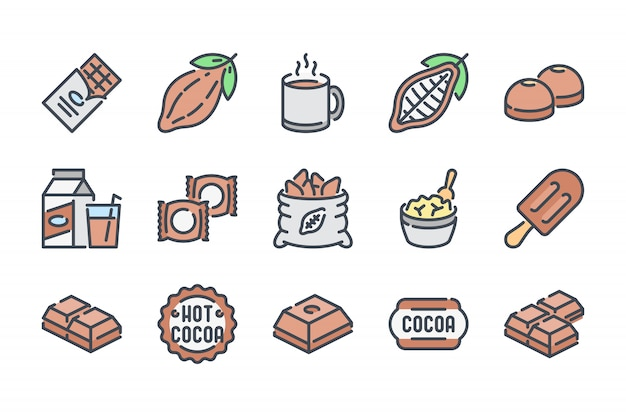 Chocolate related color line icon set.