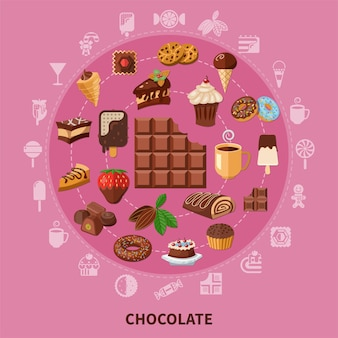 カカオ豆、ペストリー、キャンディー、アイスクリームからの飲み物とピンクの背景にチョコレートラウンド構成