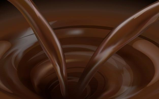 3dイラストのチョコレートソース渦巻きの背景