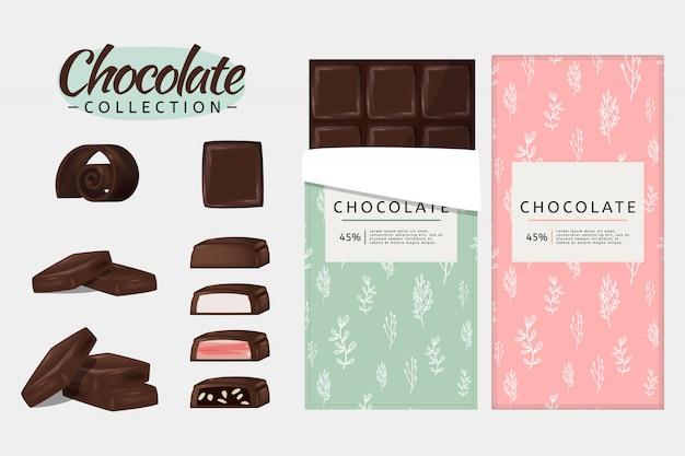 Шоколадный набор. Premium векторы
