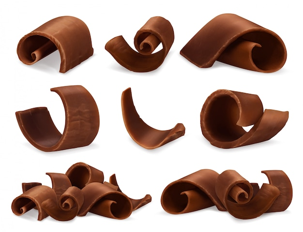 Chocolate shavings 3d realistic set,  objects food illustration