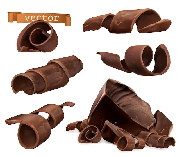 Chocolate shavings and pieces illustration set