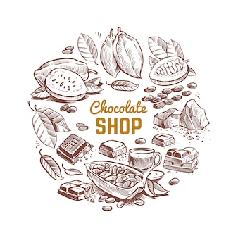 Chocolate shop vector design with sketched cocoa beans and chocolate bars