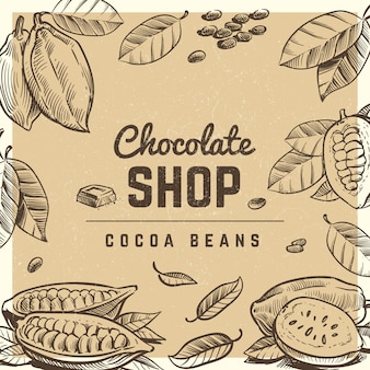 Chocolate shop vintage poster design with sketched chocolate bar and cocoa beans