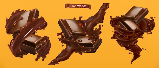 Chocolate and splash. 3d realistic vector