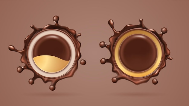 Chocolate splash or cocoa liquid splat, drop. isolated realistic black choco splatter or brown blob.