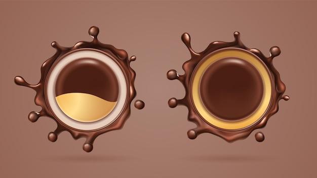 チョコレートスプラッシュまたはココアリキッドスプラット、ドロップ。孤立したリアルな黒いチョコスプラッターまたは茶色の塊。