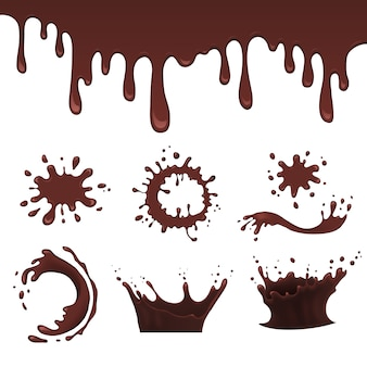 Chocolate splash set, vector illustration