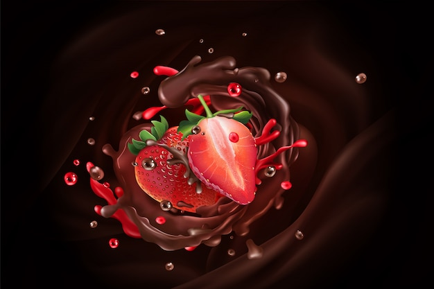 Chocolate splash with strawberries on a chocolate background.