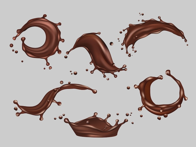 Chocolate splashes. liquid cacao food hot drink vector realistic template