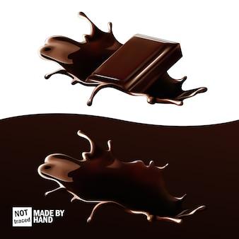 チョコレートが跳ねて、ホットチョコレートに投げられたチョコレートのかけら。現実的なセット、孤立したデザイン要素。