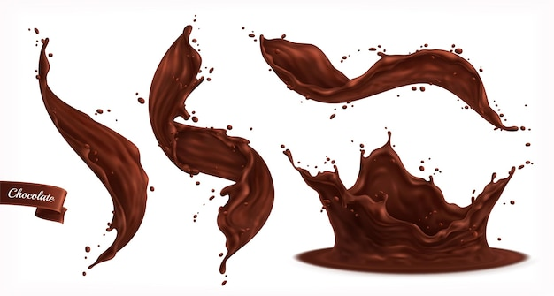 Chocolate splashes set isolated with small drops and curvy flows