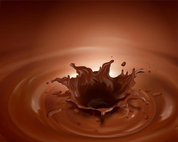 Chocolate splashing sauce in 3d illustration on brown background