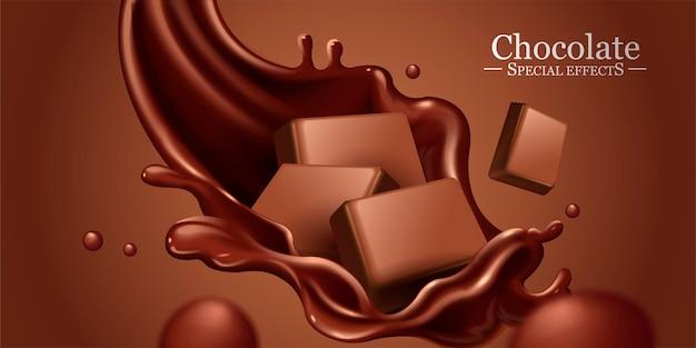 재료와 초콜릿 튀는 소스