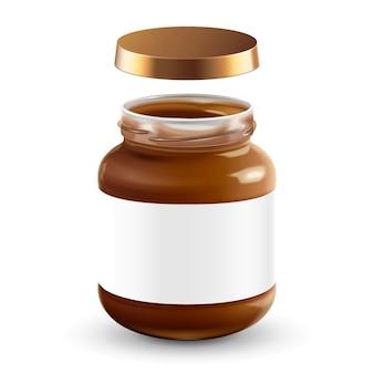 チョコレートスプレッドは、3dイラストの空白のラベルで瓶に入れることができます