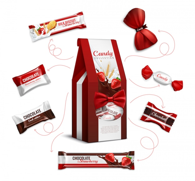 Chocolate strawberry flavored candies and biscuits in colorful foil wrappings varieties pack realistic advertising composition