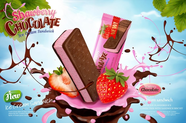 Chocolate strawberry ice cream ads with swirling sauce on blue sky background in 3d illustration