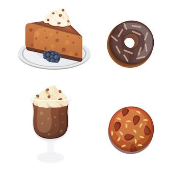 Шоколадный сладкий десерт в плоском дизайне