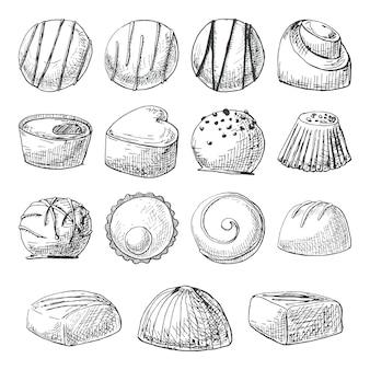 Шоколадные конфеты разных форм и размеров. набор рисованной конфет. иллюстрация стиля эскиза.