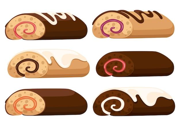 チョコレートロールケーキイラスト