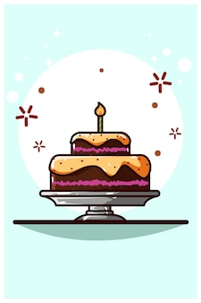 Шоколадный торт мультфильм векторные иллюстрации