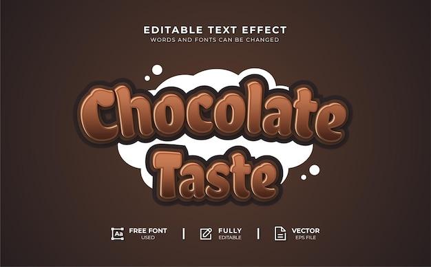 Редактируемый текстовый эффект шоколадный вкус