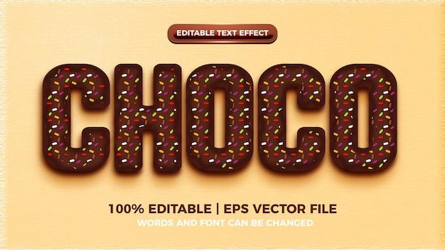 Редактируемый эффект стиля текста шоколада
