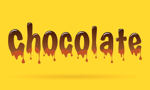 Chocolate text on yellow background.